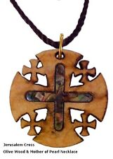 Handcrafted Genuine Olive Wood Jerusalem Cross Pendant Necklace w/ MOP Inlay