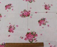 """Vintage c1940-1950 Pink Home Dec Cotton Chintz Fabric~L-25"""" X W-35"""""""