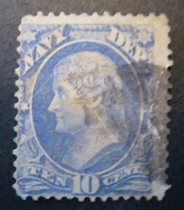 1873 US S# O40, 10c ultra, Navy hard paper Official Stamp  Used