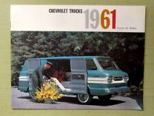 Vintage 1961 CORVAIR SALES BROCHURE TRUCKS Fold Out Ramps Cab Men, Trees Barrels