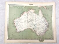 1894 Antique Map of Australia Queensland New South Wales 19th Century French