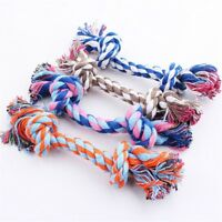 15cm Funny Puppy Pet Dog Chew Cotton Bone SHaped Rope 2 Knot Tug Toy Chew.UK