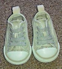 Girls Toddler Infant Beige Sparkly All Star Converse Slip On Size UK 2 SB7