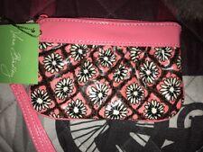 Vera Bradley Frill Zip ID Case Wristlet Wallet Mocha Rouge Coated CottonNEW Tag