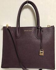 NEW Michael Kors Studio LG Mercer Damson Leather Convertible Tote Handbag $298