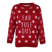 Womens Ladies Fab Yule Ous Print Knitted Novalty Christmas Jumper Uk 8-16
