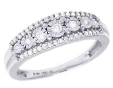 Ladies 10K White Gold Genuine Diamond Miracle Set Beaded Band Ring 0.25 CT 6MM