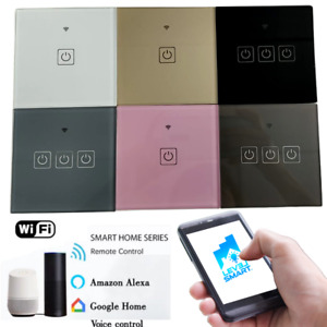 Smart Light Switch No Neutral Wifi Google Home Alexa Touch 1/2/3 Gang 6 Colours