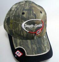 VTG New Farmer Trucker Adjustable Hat Cap South Central FS Green Camo Black Bib