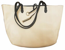 Womens Reversible Black/ off White Leather Tote Hand Bag
