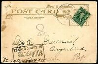USA TO ARGENTINA Postcard 1906 w/TAXE Due to Poor Postage VF