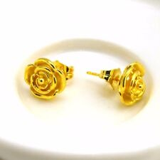 24k Yellow Gold Filled Earrings 12mm Rose Flower Stud GF Charms Fashion Jewelry