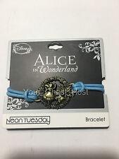 Alice in Wonderland Bracelet Blue Medallion Bronze Wash Disney Chain Extender