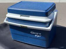 """Vintage Gott To Go Blue Cooler Adjustable Carry Strap 12x10x9"""" Meal Prep"""