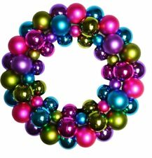 34cm Large Christmas Jewel Bauble Multi Colour Wreath Door Hanging Xmas Decor