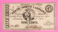 HIGH GRADE 5 CENT FRACTIONAL CURRENCY NORTH CAROLINA CIVIL WAR NOTE CU Low #50!
