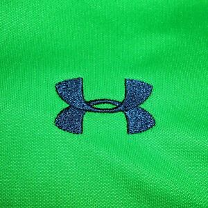 Small Under Armour GREEN Heat Gear Loose Fit Short Sleeve Wicking Polo Shirt UA