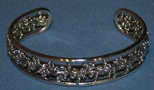 Beautiful Silver Tone Bracelet Jewelry Adjustable Open Slip On Wide Braid Twist