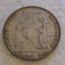GERMANY 3HIRD REICH - SILVER 5 REICHSMARK 1935E KM # 86 AX.F