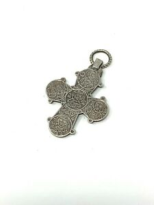 Unusual Antique Victorian Sterling Silver 925 Mourning Locket Pendant Cross #813