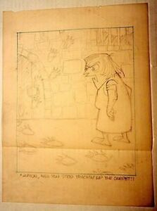 AL KILGORE pencil drawing 8 x 10 FLOOR COVERING WEEKLY Magazine Cartoon AKd451
