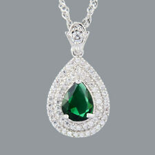 New Cubic Zirconia 18K White Gold Plated Green Emerald Pear Pendant Necklace
