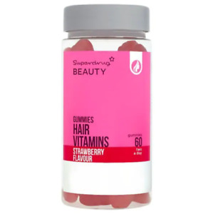 Superdrug Chewable Strawberry Gummie Hair Vitamins x60 Anti Hair Loss Exp: May22