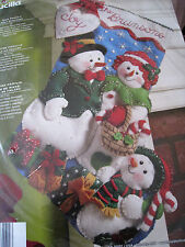 "BUCILLA Christmas STOCKING FELT Applique Holiday Craft KIT,OUR FAMILY,86141,18"""