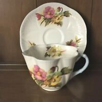 Dainty Shelly Tea Cup & Saucer Wild Pink & Yellow Roses England Vintage Lovely!
