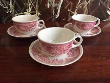 VILLEROY & Boch Faisan en rouge, 3 BELLES thé tasses à café avec soucoupes