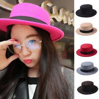 Vintage Women Lady Wool Felt Floppy Wide Brim Fedora Bowler Flat Top Hat Caps