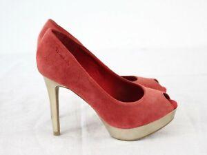W76 Tamaris Red Gold High Heel Women Leather Stiletto Peep Toes US6 UK3 EU36