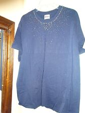 Hanes T Shirt Navy Blue with Colored Studding on Front XL Short Sleeve T Shirt