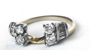 14k Gold Round Baguette .70Ct Diamond Wedding Ring Wrap Insert Enhancer IGI Cert