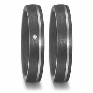 Paar Ringe aus Titan Carbon mit Diamant für Ehe Verlobung Hochzeit Partnerschaft