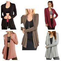 Sofra Women's Open-Front Soft Draped Long Sleeve Cardigan Sweater Longline Tunic