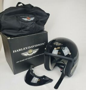 Harley Davidson 100th Anniversary Black Size Large 3/4 Motorcycle Helmet 97107