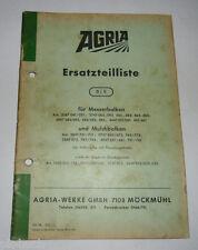 Ersatzteilliste 8/5 Agria für Messerbalken und Mulchbalken Planetenantrieb 1968