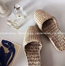 Retro Women Unisex Natural Straw Woven Slippers Shoes Sandal Flip Flop Handmade