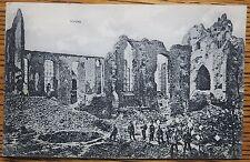WWI LANGEMARK, BELGIUM, BOMBED CHURCH, SOLDIERS, SCHAAR & DATHE GERMAN POSTCARD