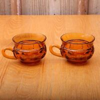 2 Indiana Glass Co Kings Crown Cups Amber Thumbprint Design