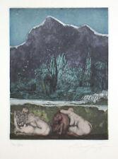 Ernst Fuchs 1975 unter dem Schnee Liliths Radierung signiert