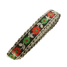 2m 2 metre black red green flower white frill edge embroidered ribbon trim 20mm