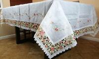 "Embroidery 72x72"" Square Rhine Stone Organza Handmade Flower Tablecloth Napkins"