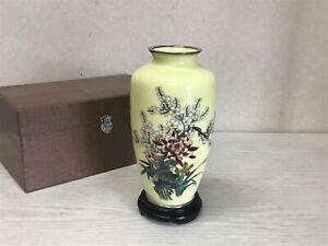Y2491 FLOWER VASE Cloisonne box home decor interior Japan antique ikebana