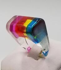 Vintage Mod Rainbow 1960 Lucite Ring 7.75  EBA51