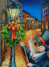 40% OFF SALE ACEO Limited Edition Print Dickens Christmas Mice No. 3 Lamplighter