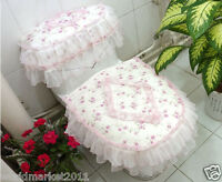 Lovely Practical Purple S 45*44 CM Cotton Rose Pattern Three-Piece Toilet Cover