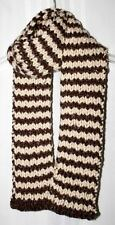 New Handmade Knitted Heavy Cream & Brown Striped Ribbed Scarf