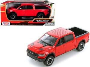 2019 Dodge Ram 1500 Crew Cab Rebel Pickup Truck Red 1:24 Model- Motormax 79358RD